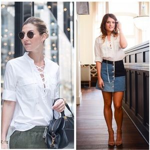 MADEWELL white terrace lace up blouse size xs